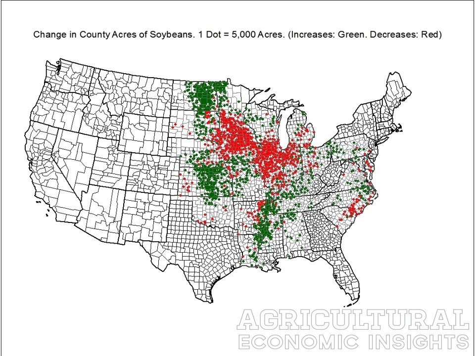 Change in Soybean Acres, County Level, Ag Trend, www.ageconomists.com