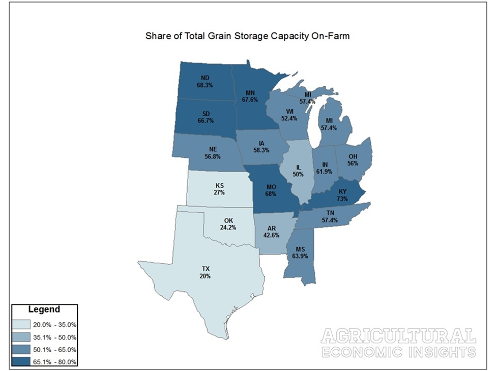 Share of On-Farm Storage. By State. Ag Trends. Agricultural Economic Insights