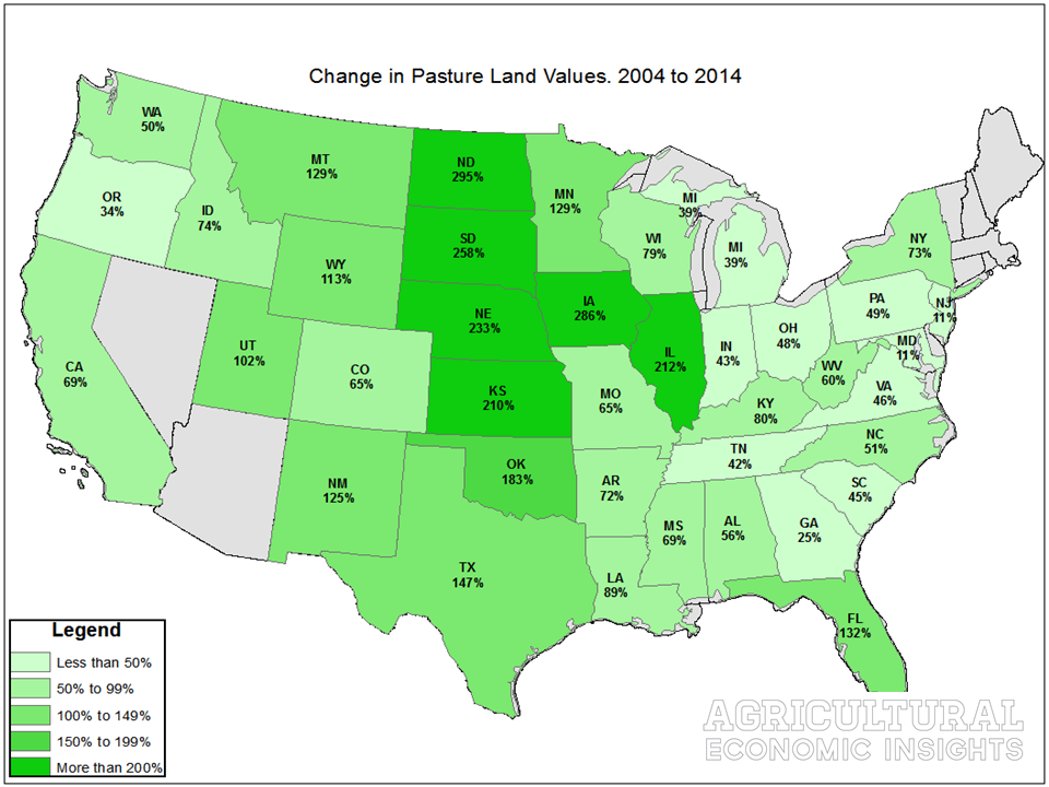 Changes in Pasture Land Values. Ag Trends. Agricultural Economic Insights