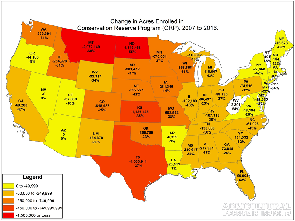 Change in State CRP Acres. Conservation Reserve Program. Ag Trends. Agricultural Economic Insights