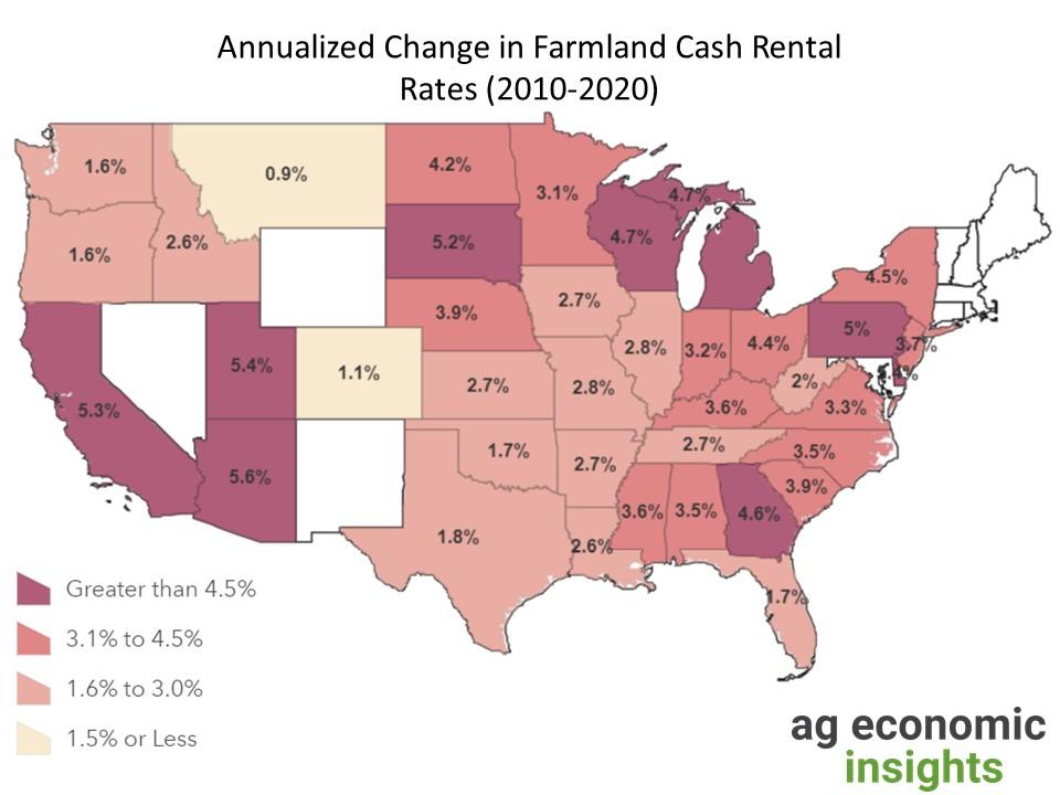 farmland cash rental rates 2020