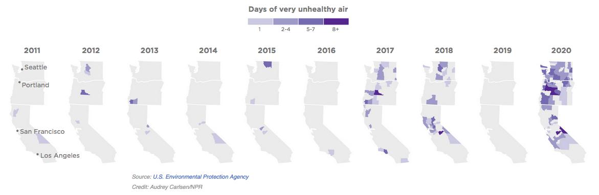 NPR/EPA analysis of poor air quality days